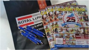 Competitor packages had some cool items - including magazines from the Canadian Horse Journal.