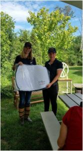 BFL Style Award for the Oakhurst HT - our own Team Oakhurst rider Emma Richardson is presented with a saddle pad by Kara Glauser - BFL Canada