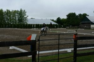 Jackie Naida & Conquest completing their astonishing one stirrup , First Level Test 3 in the monsoon rain.