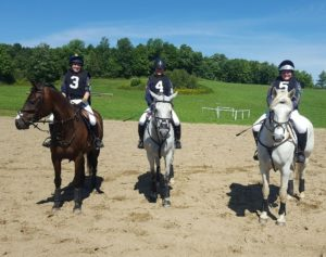 Tatti & I, Devon Svoboda & Abbigael and Alexa Bresnahan & Aragon ready for the Prelim XC at Robinson HT! Photo by: Ruth Allum