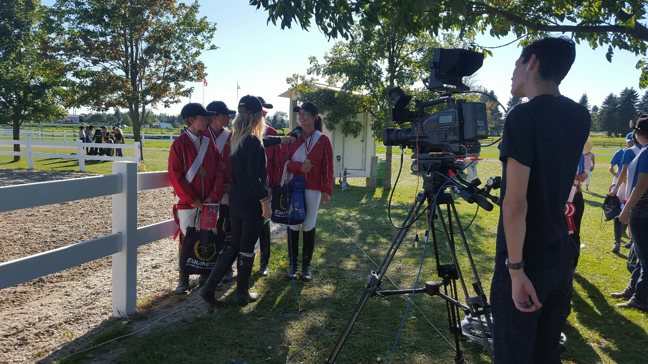 Team Ontario Dressage being interviewed after their Gold Medal win at CIEC's 2015