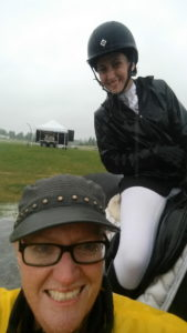 Coaches Helen Richardson and Megan Jenner embraced the rain and sent this soggy dressage selfie to show how much fun they were having!