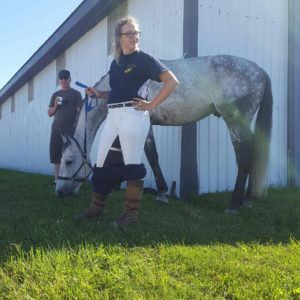 "Chelsea Arden and Charles WH - feeling the heat at Bromont and choosing to strike a vogue-worthy pose will rejecting the ""pants-on-pants"" method of keeping white britches clean!"