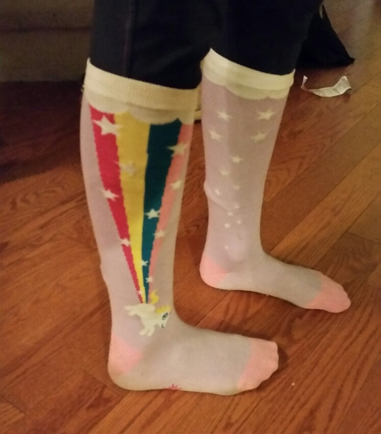 Unicorns farting rainbows socks - extra warmth AND good luck! These babies worked for Emma Richardson.