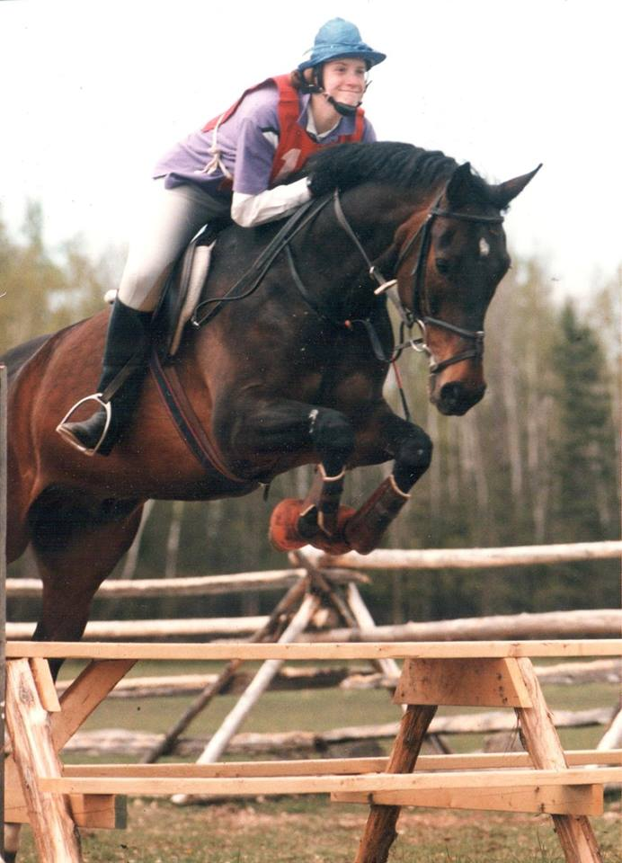 Ruth competing at Pine Oak Horse Trials - 1988ish - with Debonair (Marty)