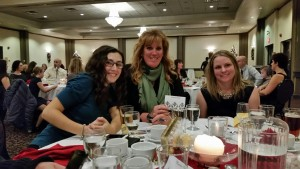 Megan Jenner, Ruth Allum & Cheryl Denault keeping the Team Oakhurst table cheering loudly during the 2015 OADG Dressage Awards Banquet.