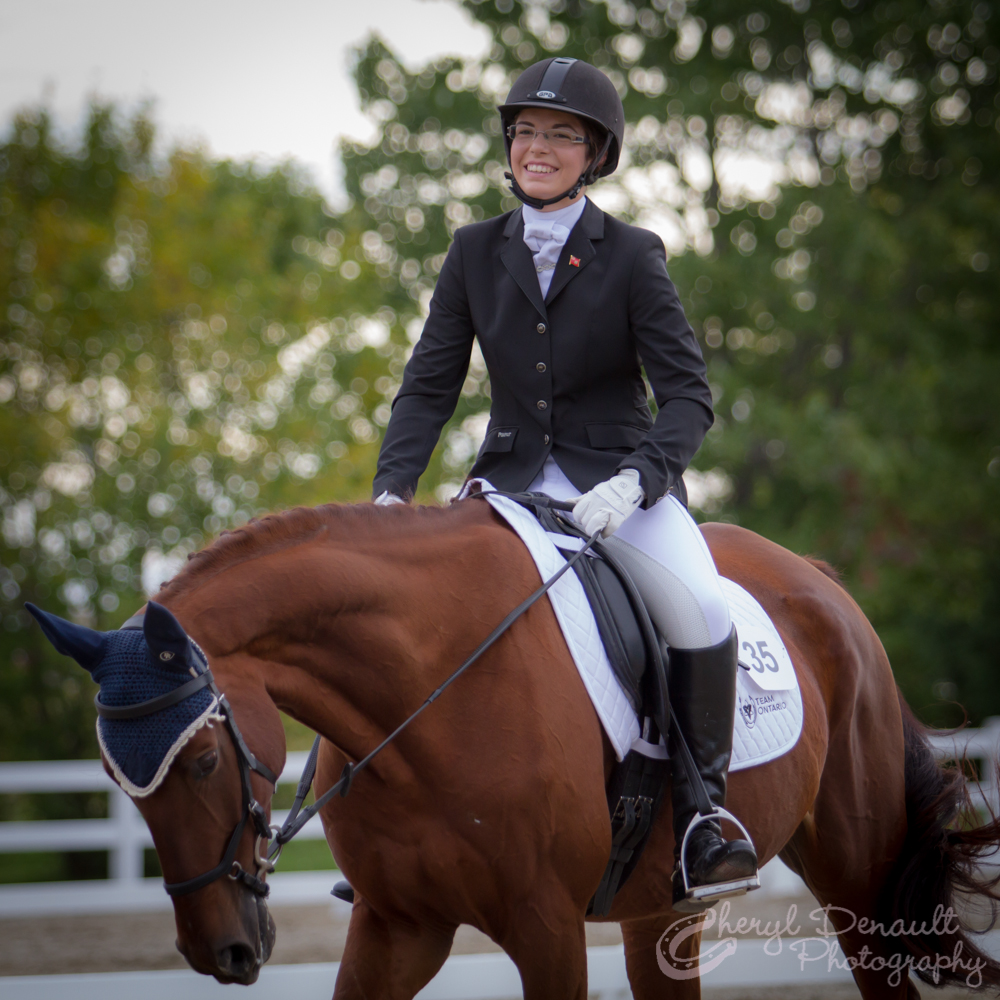 Jenna Mayhew & Kinsale after performing their first Dressage Test at CIEC's.  Photo by: Cheryl Denault Photography